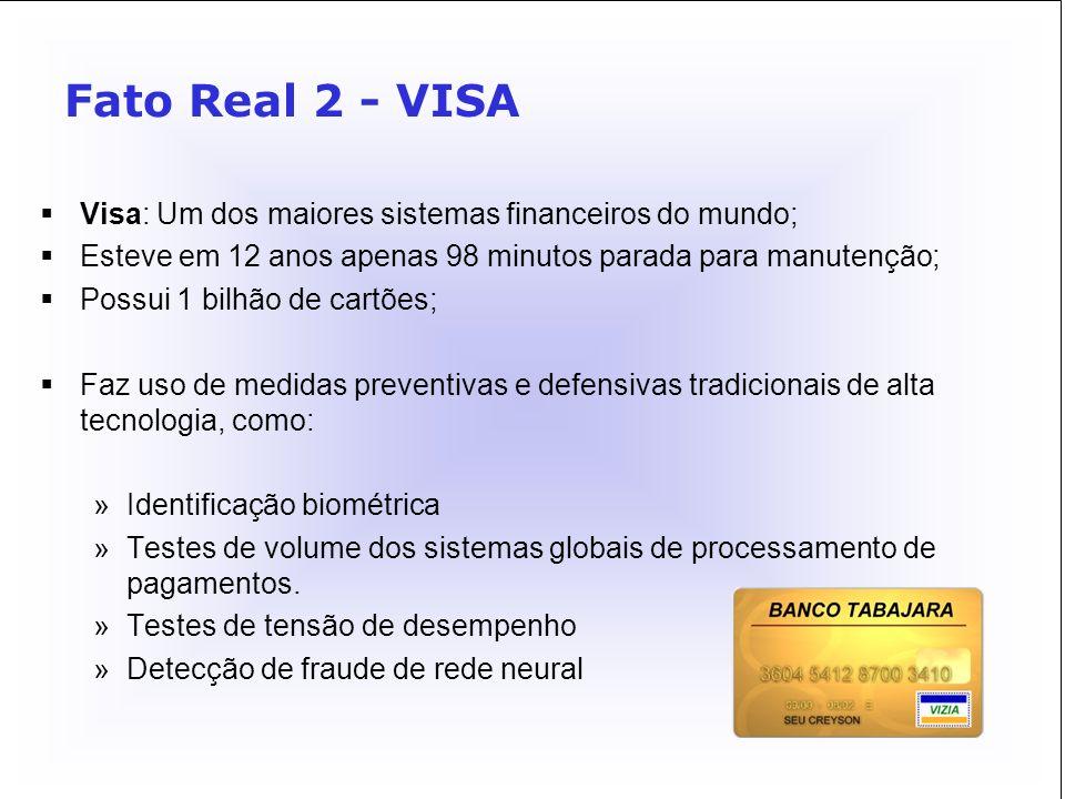 Fato Real 2 - VISA Visa: Um dos maiores sistemas financeiros do mundo;