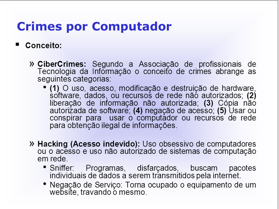 Crimes por Computador Conceito:
