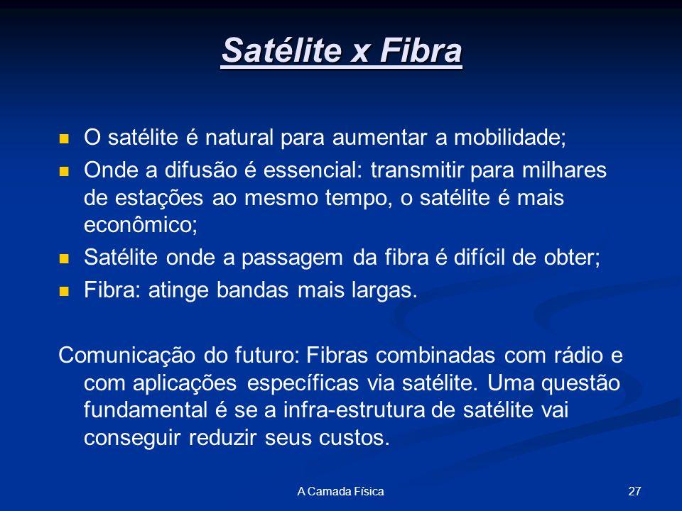 Satélite x Fibra O satélite é natural para aumentar a mobilidade;