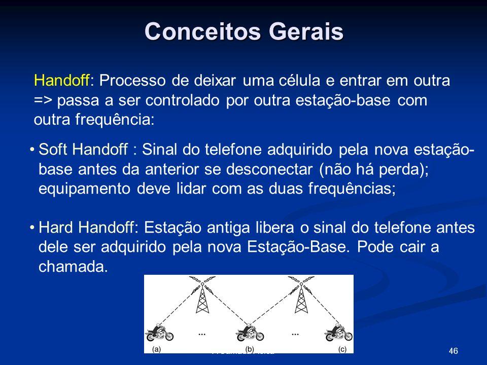 Conceitos Gerais Handoff: Processo de deixar uma célula e entrar em outra => passa a ser controlado por outra estação-base com outra frequência: