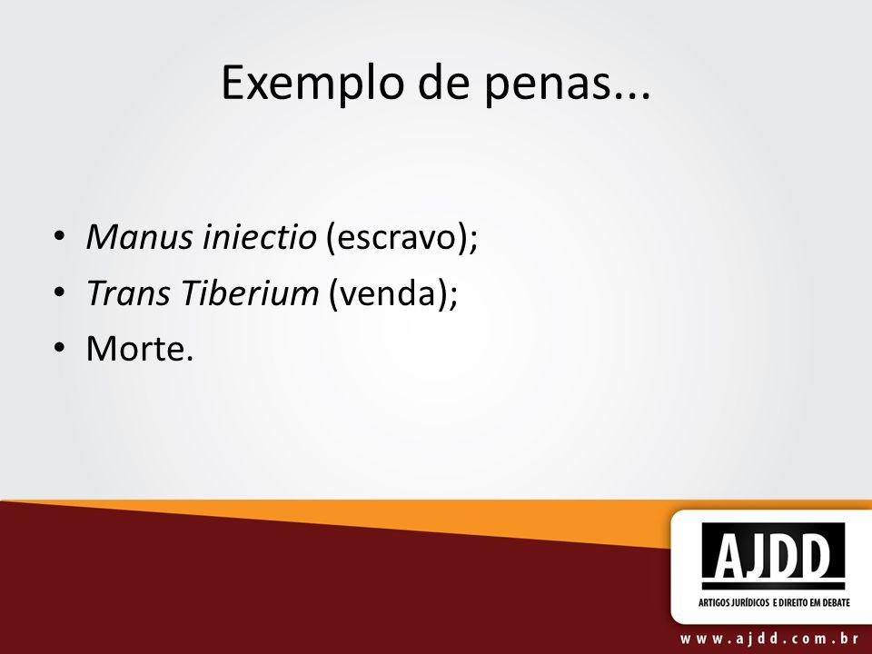 Exemplo de penas... Manus iniectio (escravo); Trans Tiberium (venda);