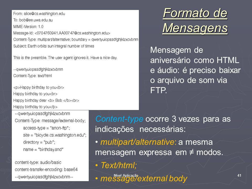Formato de MensagensMensagem de aniversário como HTML e áudio: é preciso baixar o arquivo de som via FTP.