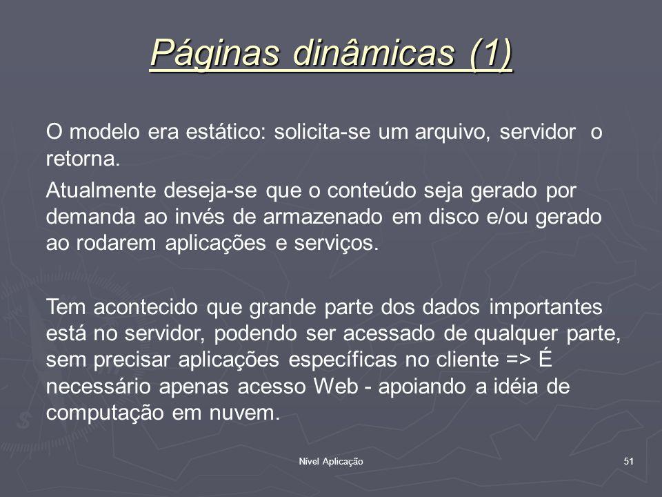 Páginas dinâmicas (1) O modelo era estático: solicita-se um arquivo, servidor o retorna.