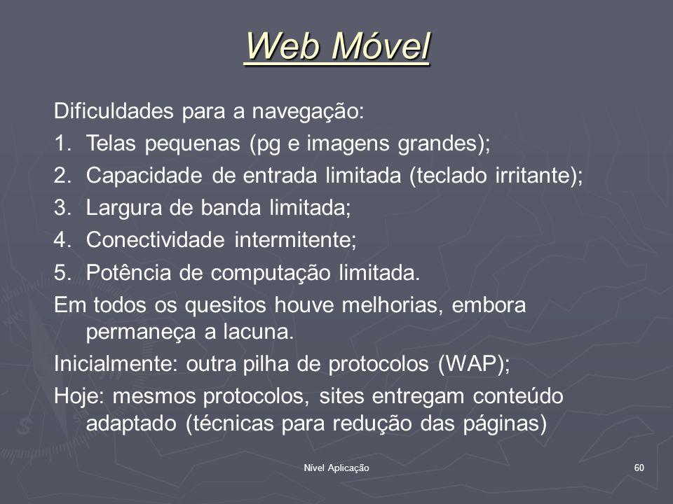 Web Móvel Dificuldades para a navegação:
