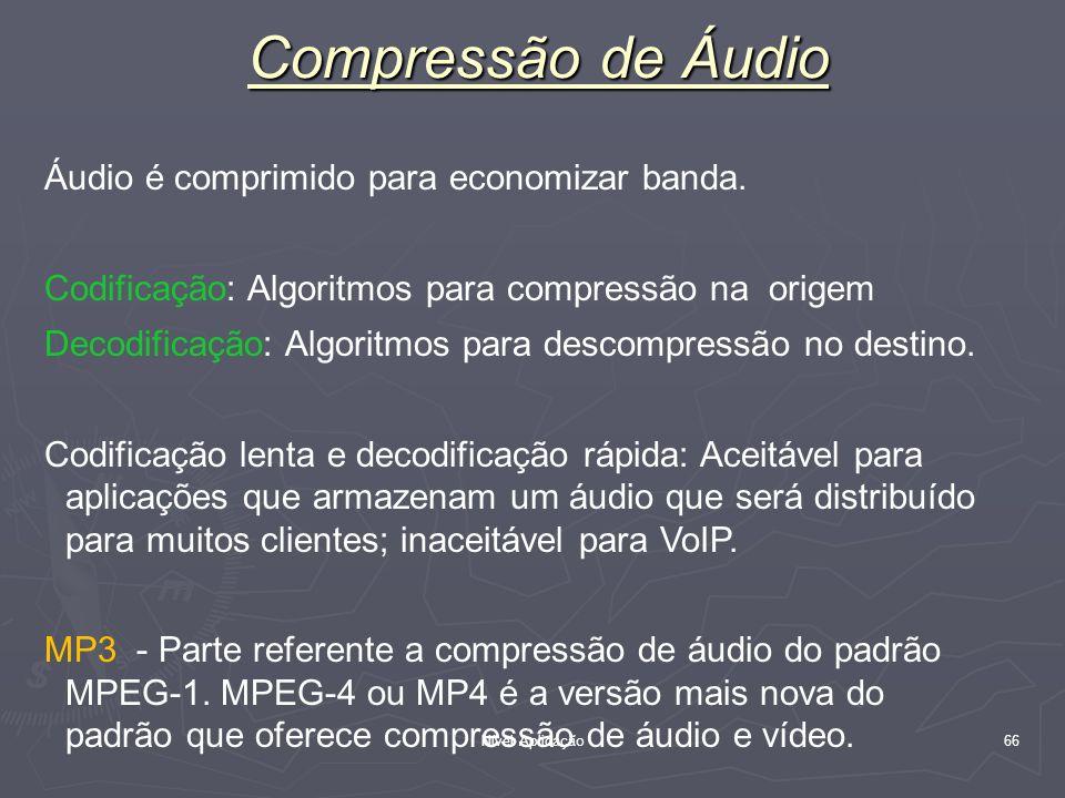Compressão de Áudio Áudio é comprimido para economizar banda.