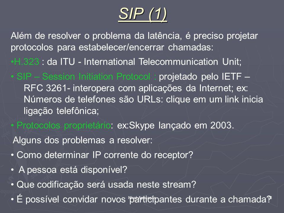 SIP (1) Além de resolver o problema da latência, é preciso projetar protocolos para estabelecer/encerrar chamadas: