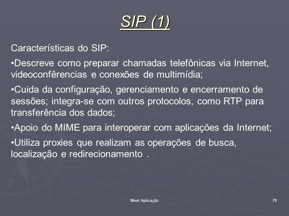 SIP (1) Características do SIP: