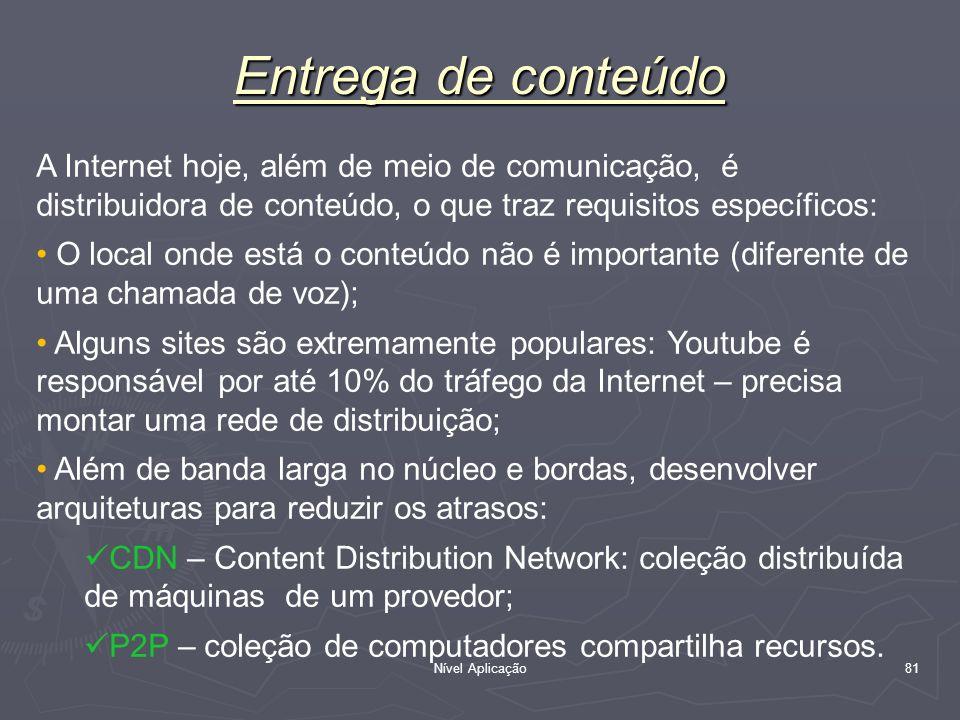 Entrega de conteúdo A Internet hoje, além de meio de comunicação, é distribuidora de conteúdo, o que traz requisitos específicos: