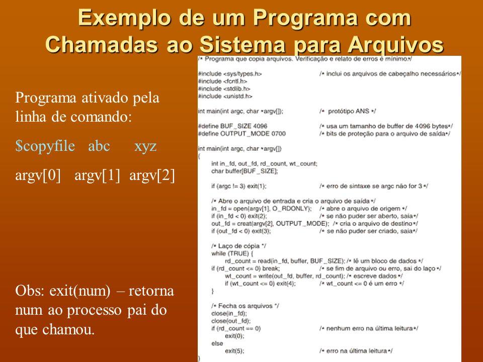 Exemplo de um Programa com Chamadas ao Sistema para Arquivos