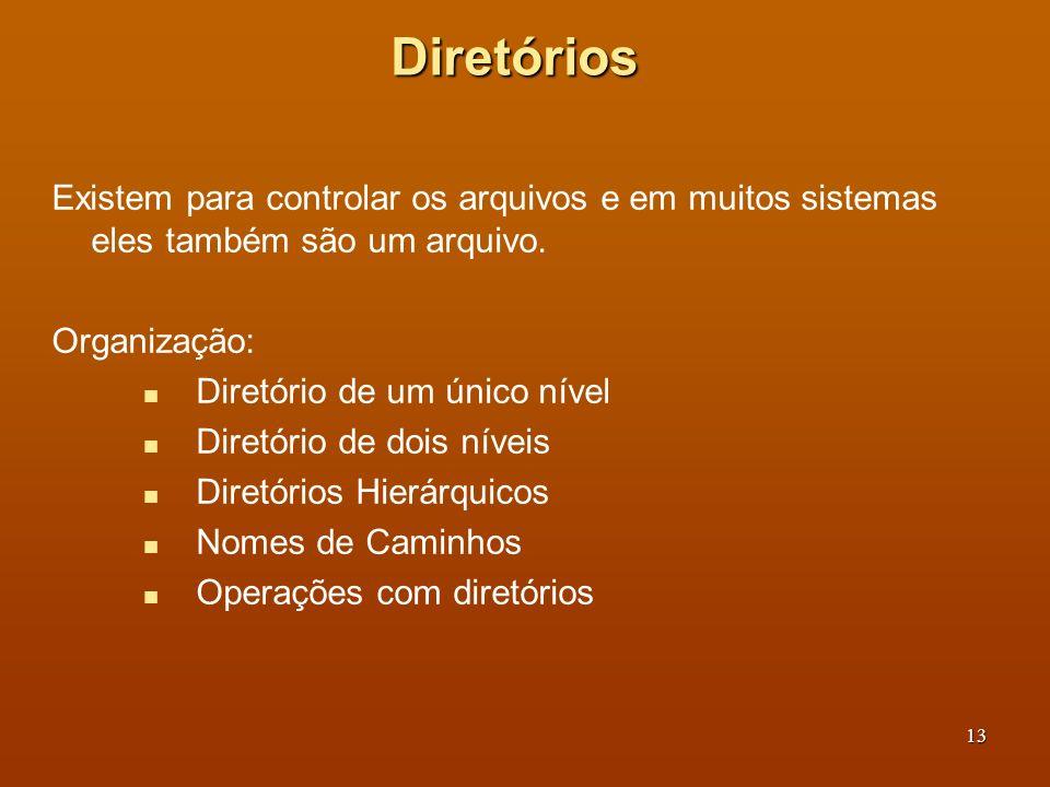 Diretórios Existem para controlar os arquivos e em muitos sistemas eles também são um arquivo. Organização: