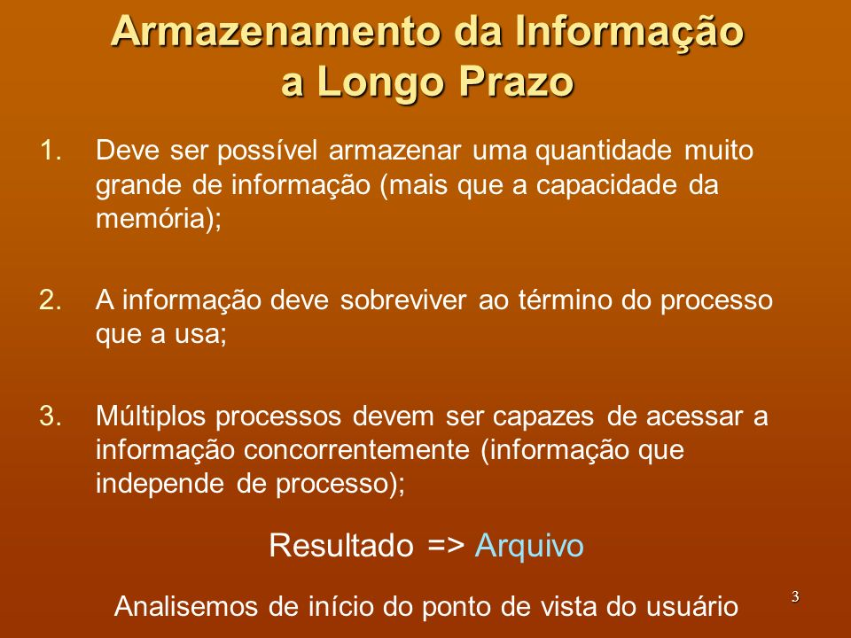 Armazenamento da Informação a Longo Prazo