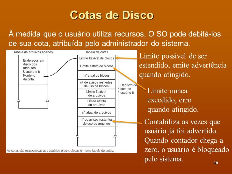 Cotas de Disco À medida que o usuário utiliza recursos, O SO pode debitá-los de sua cota, atribuída pelo administrador do sistema.