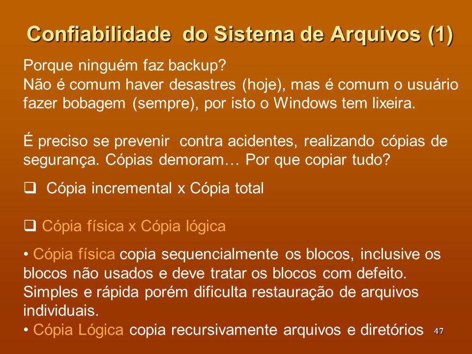 Confiabilidade do Sistema de Arquivos (1)