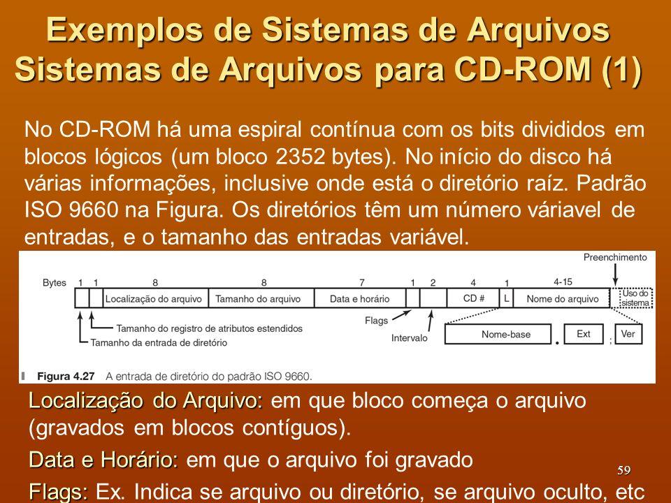 Exemplos de Sistemas de Arquivos Sistemas de Arquivos para CD-ROM (1)