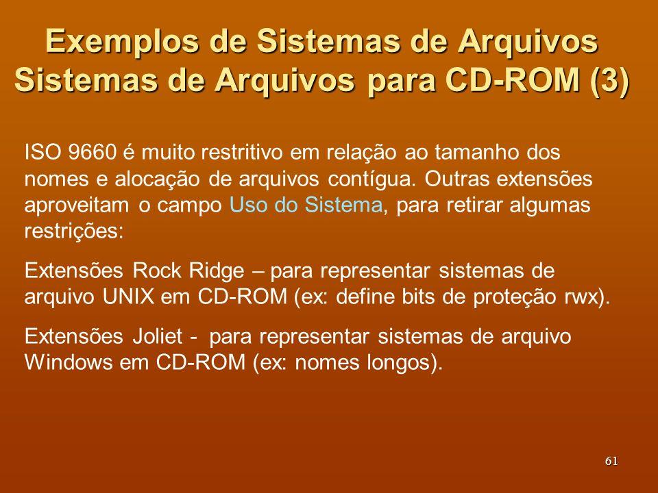 Exemplos de Sistemas de Arquivos Sistemas de Arquivos para CD-ROM (3)