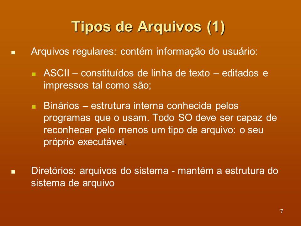 Tipos de Arquivos (1) Arquivos regulares: contém informação do usuário: ASCII – constituídos de linha de texto – editados e impressos tal como são;