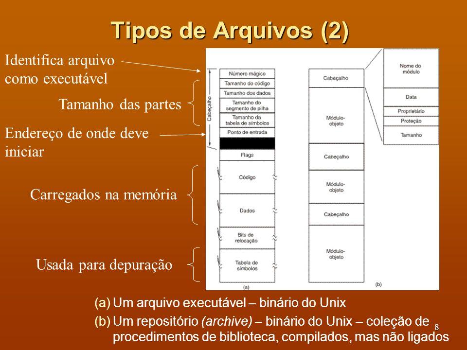 Tipos de Arquivos (2) Identifica arquivo como executável