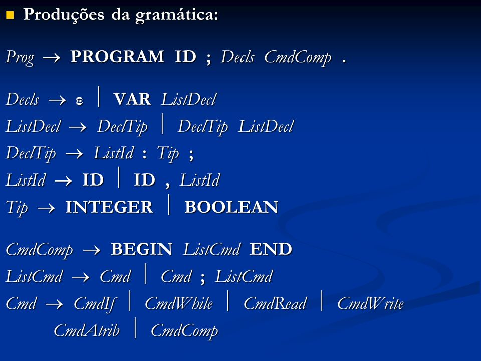 Produções da gramática: