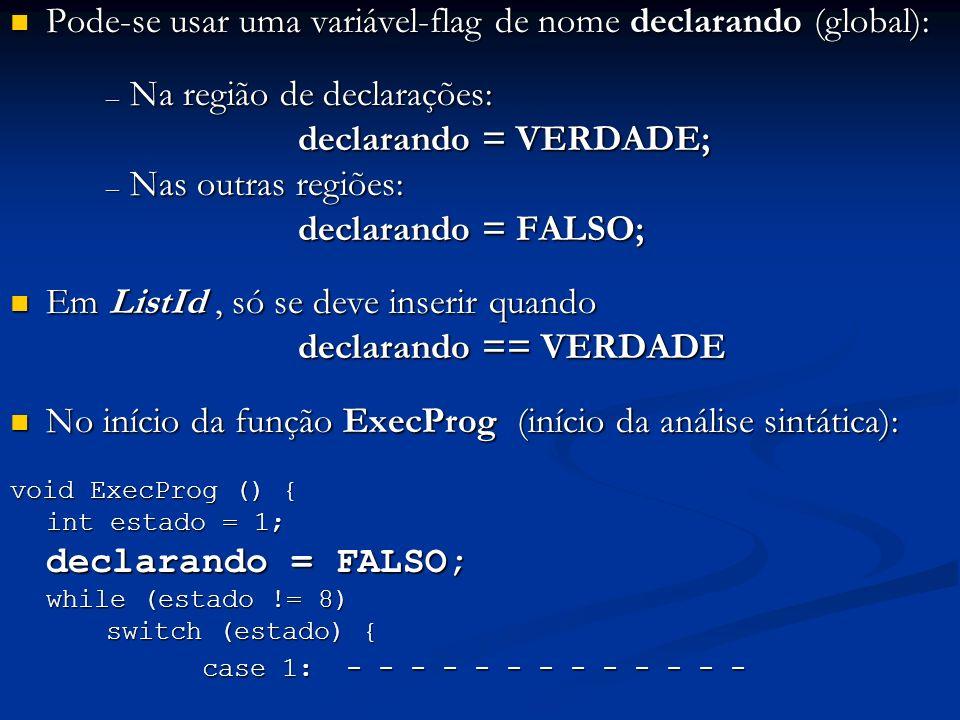 Pode-se usar uma variável-flag de nome declarando (global):
