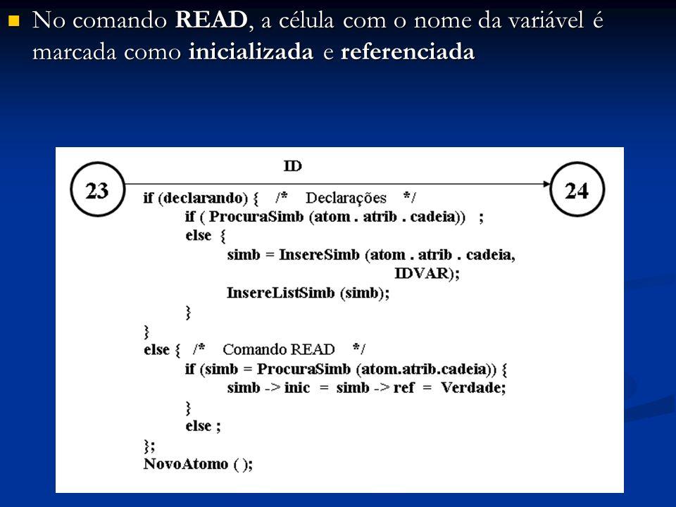 No comando READ, a célula com o nome da variável é marcada como inicializada e referenciada