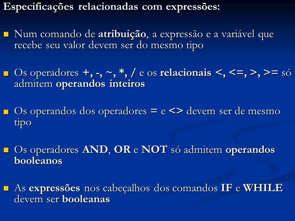 Especificações relacionadas com expressões: