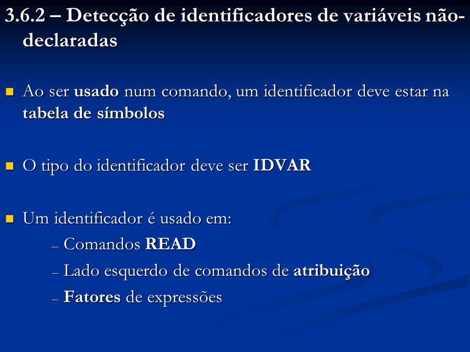 3.6.2 – Detecção de identificadores de variáveis não-declaradas