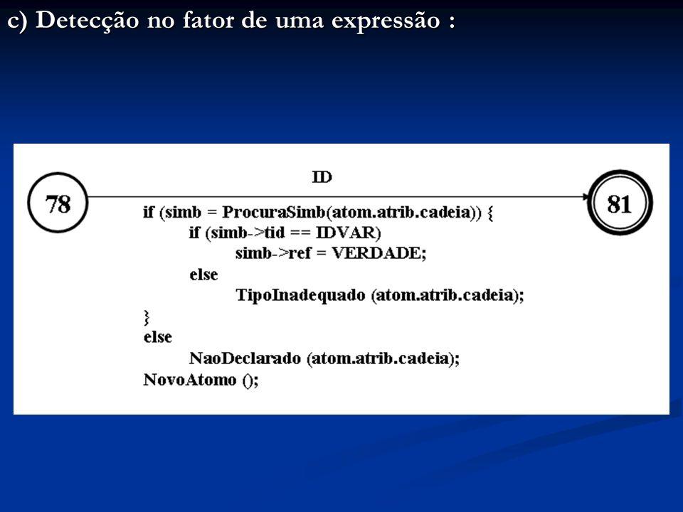 c) Detecção no fator de uma expressão :