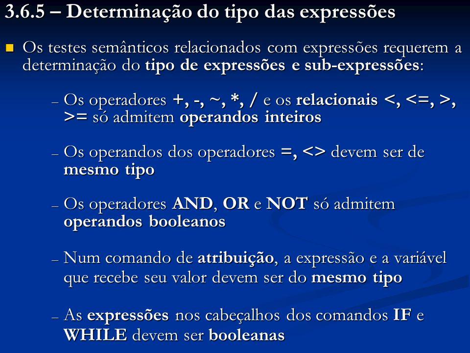 3.6.5 – Determinação do tipo das expressões