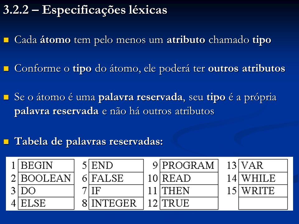 3.2.2 – Especificações léxicas