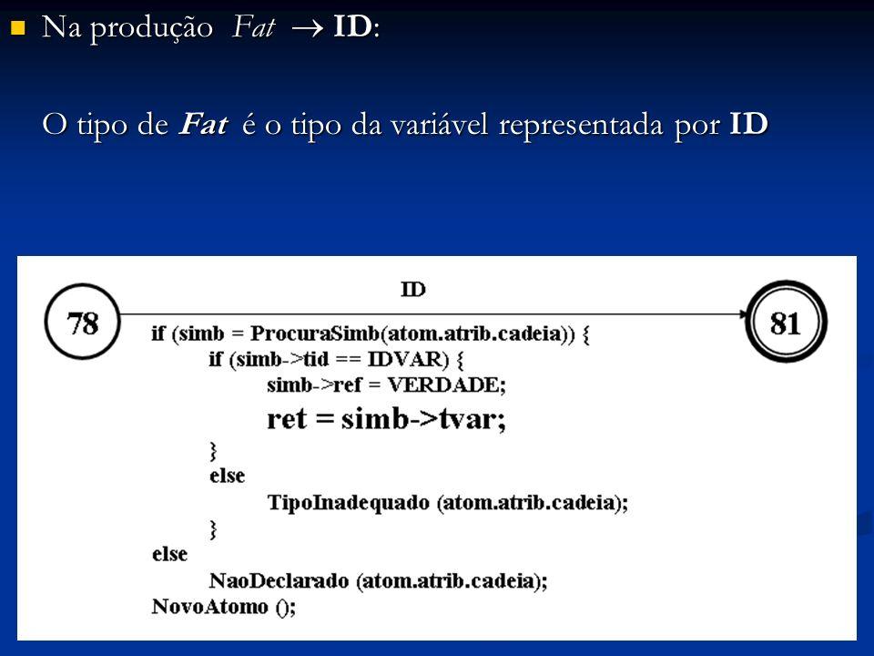 Na produção Fat  ID: O tipo de Fat é o tipo da variável representada por ID