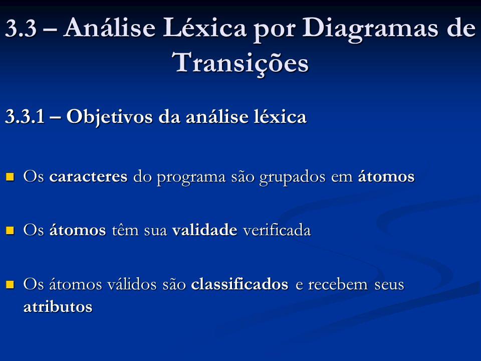 3.3 – Análise Léxica por Diagramas de Transições