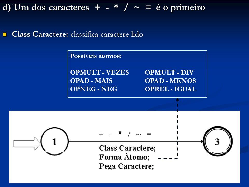 d) Um dos caracteres + - * / ~ = é o primeiro