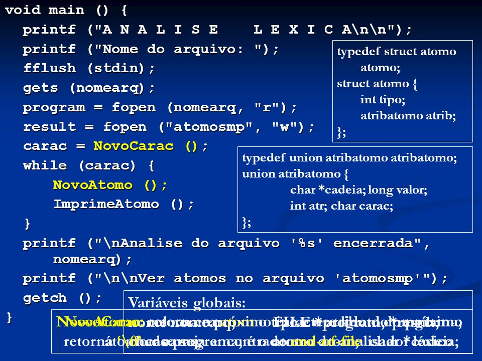 nome nomearq; FILE *program, *result;