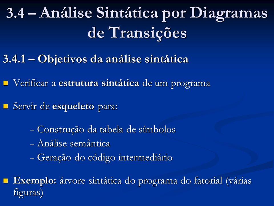 3.4 – Análise Sintática por Diagramas de Transições