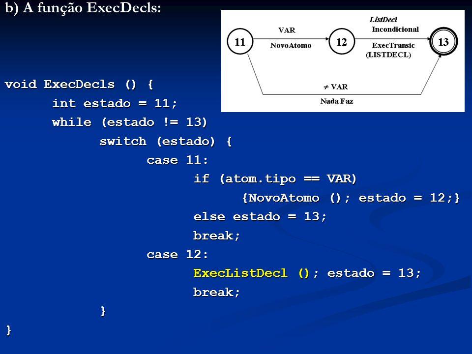 b) A função ExecDecls: void ExecDecls () { int estado = 11;