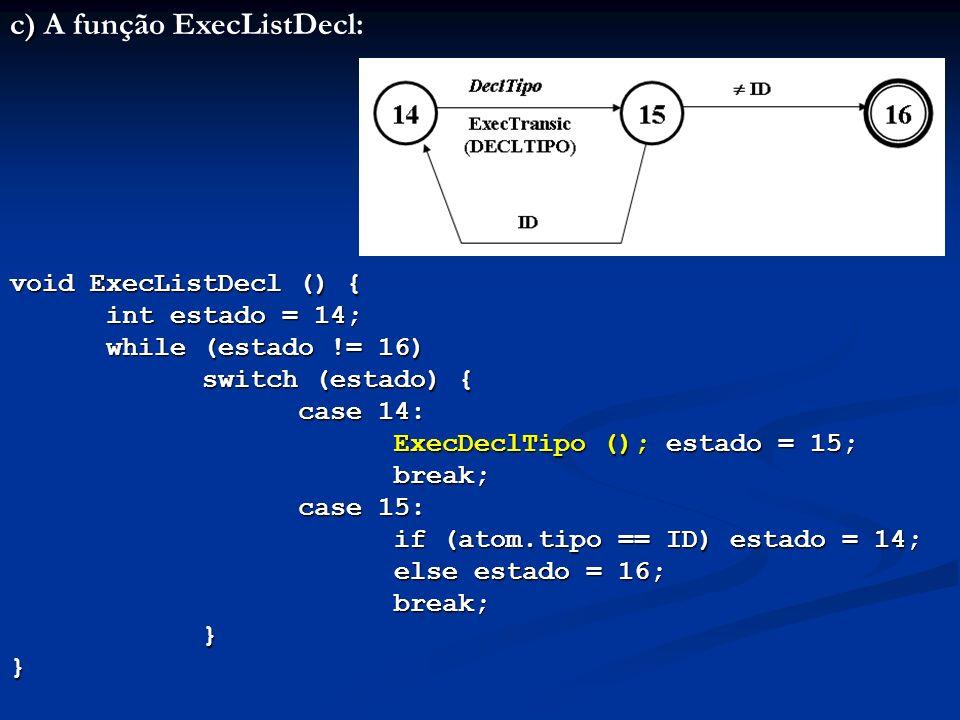 c) A função ExecListDecl: