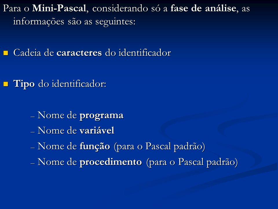 Para o Mini-Pascal, considerando só a fase de análise, as informações são as seguintes: