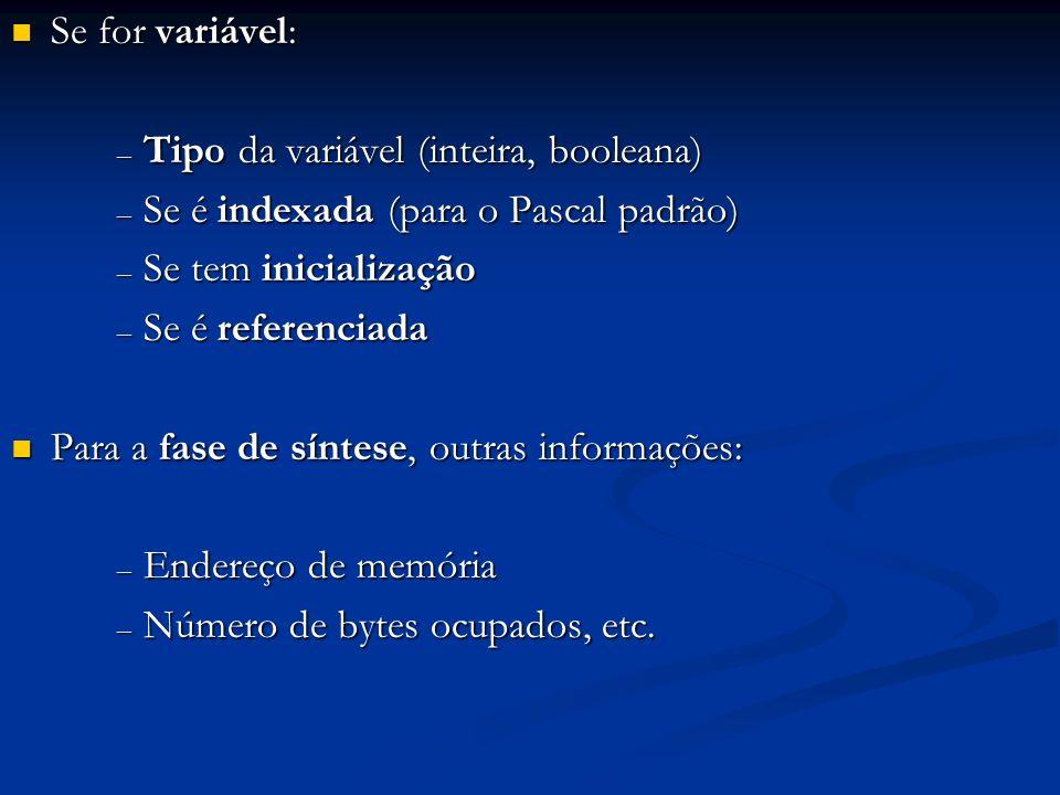 Se for variável: Tipo da variável (inteira, booleana) Se é indexada (para o Pascal padrão) Se tem inicialização.