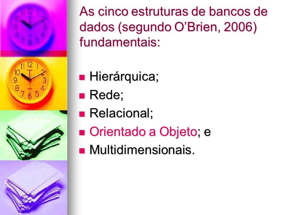 As cinco estruturas de bancos de dados (segundo O'Brien, 2006) fundamentais: