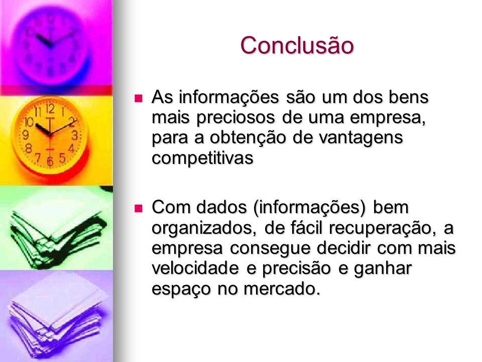 Conclusão As informações são um dos bens mais preciosos de uma empresa, para a obtenção de vantagens competitivas.