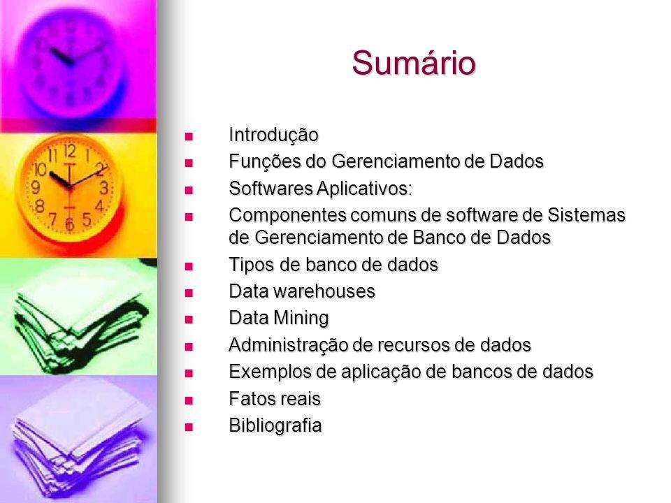 Sumário Introdução Funções do Gerenciamento de Dados