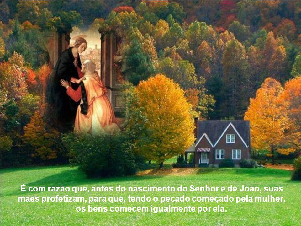 É com razão que, antes do nascimento do Senhor e de João, suas mães profetizam, para que, tendo o pecado começado pela mulher, os bens comecem igualmente por ela.