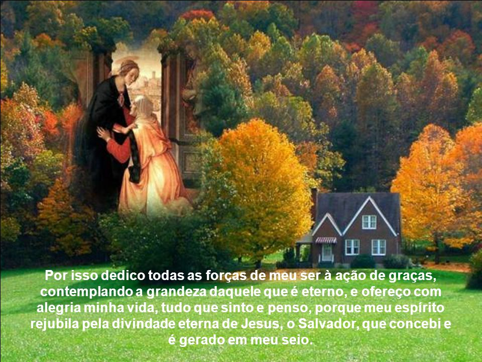 Por isso dedico todas as forças de meu ser à ação de graças, contemplando a grandeza daquele que é eterno, e ofereço com alegria minha vida, tudo que sinto e penso, porque meu espírito rejubila pela divindade eterna de Jesus, o Salvador, que concebi e é gerado em meu seio.