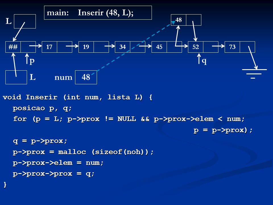 main: Inserir (48, L); L p q L 48 num