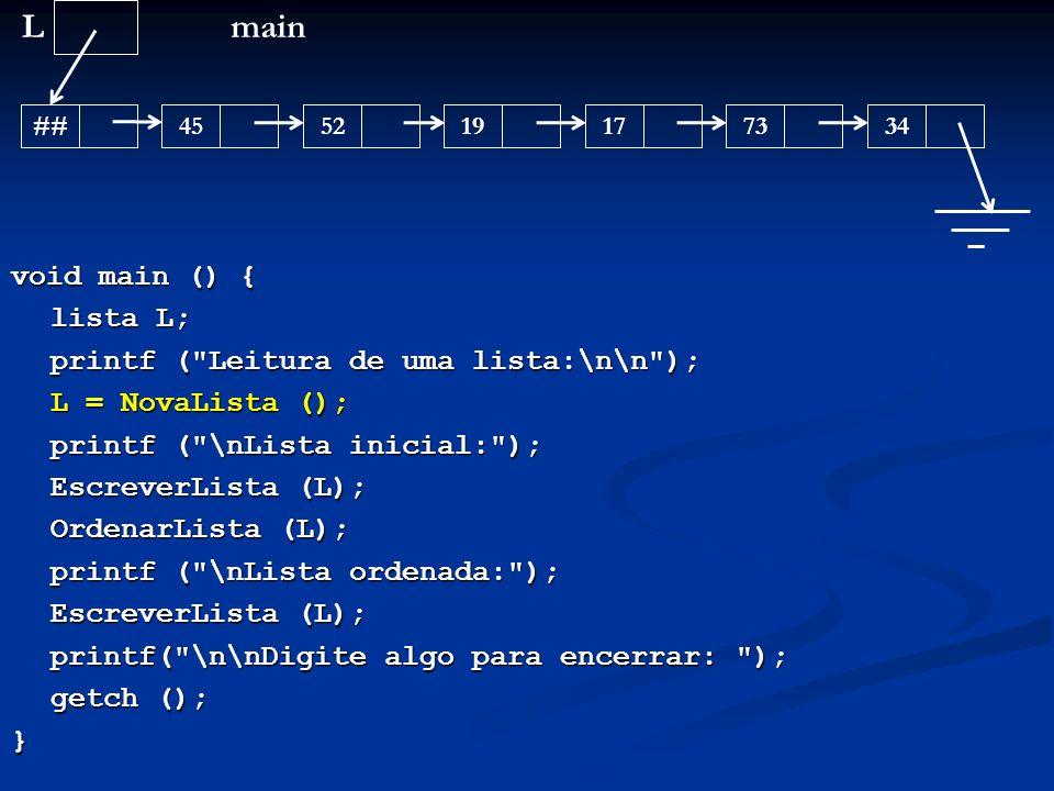 L main void main () { lista L; printf ( Leitura de uma lista:\n\n );