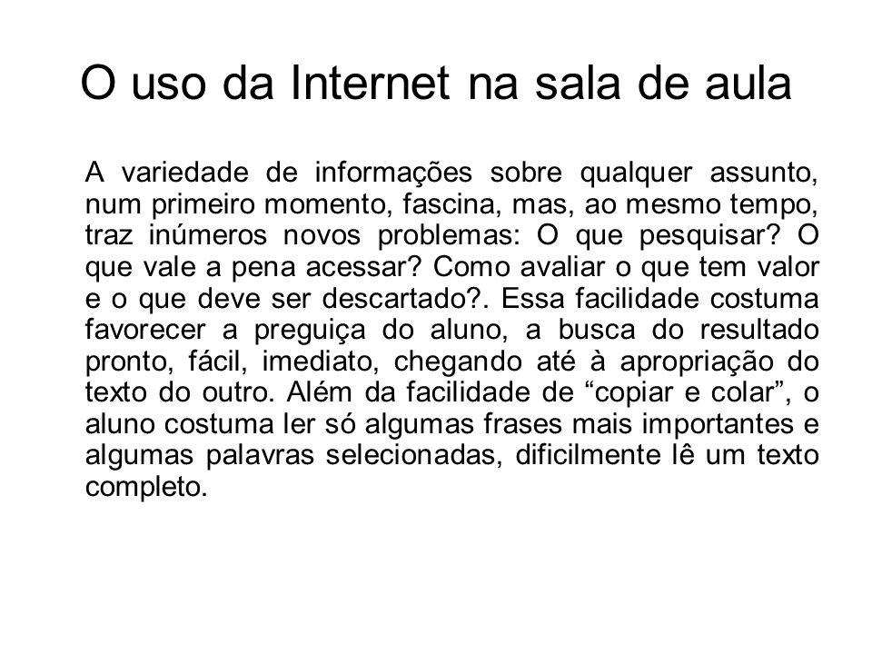 O uso da Internet na sala de aula
