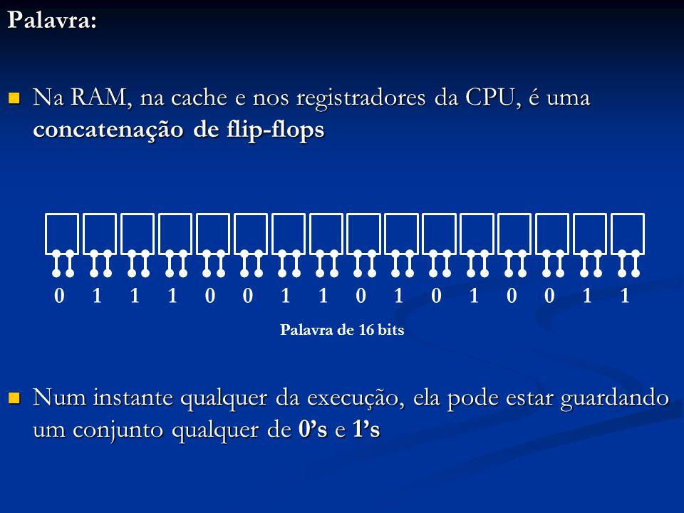 Palavra: Na RAM, na cache e nos registradores da CPU, é uma concatenação de flip-flops.