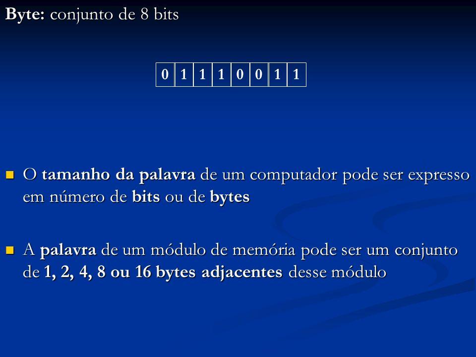 Byte: conjunto de 8 bitsO tamanho da palavra de um computador pode ser expresso em número de bits ou de bytes.