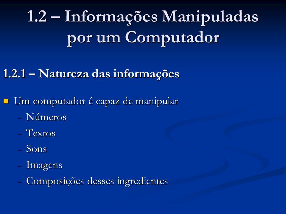 1.2 – Informações Manipuladas por um Computador