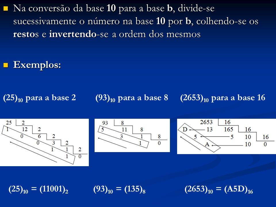 Na conversão da base 10 para a base b, divide-se sucessivamente o número na base 10 por b, colhendo-se os restos e invertendo-se a ordem dos mesmos